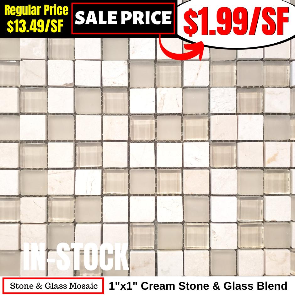 1x1 Cream Stone & Glass Mosaic