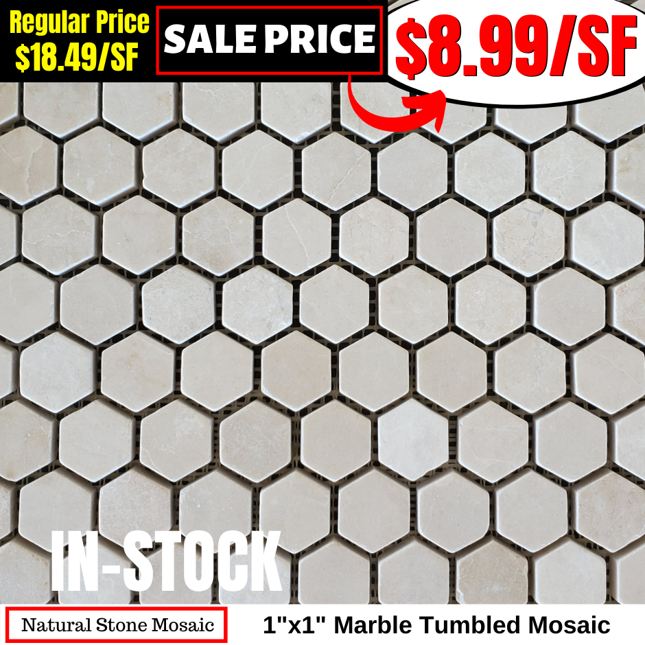 Copy of 1x1 Marble Tumbled Mosaic